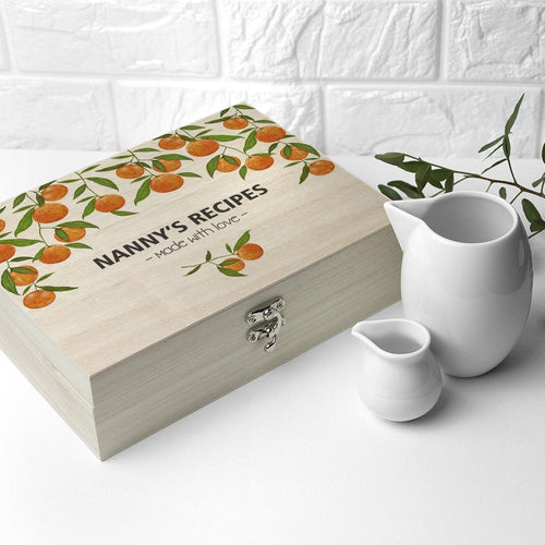 Personalised Orange Grove Recipe Box - One of a Kind Gifts UK