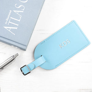 Personalised Pastel Blue Foiled Leather Luggage Tag - One of a Kind Gifts UK
