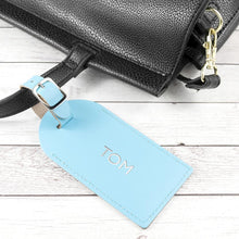 Load image into Gallery viewer, Personalised Pastel Blue Foiled Leather Luggage Tag - One of a Kind Gifts UK