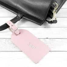 Load image into Gallery viewer, Personalised Pastel Pink Foiled Leather Luggage Tag - One of a Kind Gifts UK
