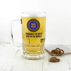 Personalised Probably The Best Beer Glass Tankard - One of a Kind Gifts UK