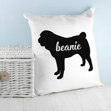 Load image into Gallery viewer, Personalised Pug Silhouette Cushion Cover - One of a Kind Gifts UK