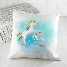 Load image into Gallery viewer, Personalised Rainbow Unicorn Cushion Cover - One of a Kind Gifts UK