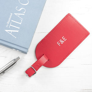 Personalised Red Foiled Leather Luggage Tag - One of a Kind Gifts UK
