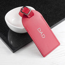 Load image into Gallery viewer, Personalised Red Foiled Leather Luggage Tag - One of a Kind Gifts UK