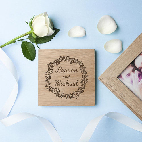 Personalised Romantic Floral Frame Oak Photo Cube - One of a Kind Gifts UK