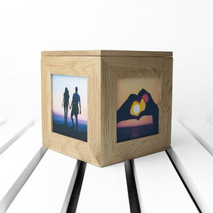Personalised Romantic Heart Frame Oak Photo Cube - One of a Kind Gifts UK