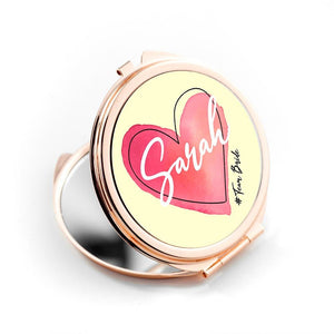 Personalised Rose Gold #Heart Compact Mirror - One of a Kind Gifts UK