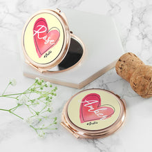 Load image into Gallery viewer, Personalised Rose Gold #Heart Compact Mirror - One of a Kind Gifts UK