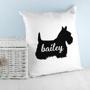 Personalised Scottish Terrier Silhouette Cushion Cover - One of a Kind Gifts UK