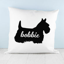 Load image into Gallery viewer, Personalised Scottish Terrier Silhouette Cushion Cover - One of a Kind Gifts UK