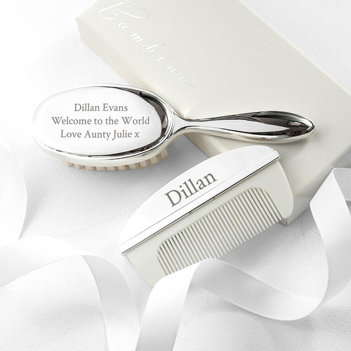 Personalised Silver Plated Baby Brush And Comb Set - One of a Kind Gifts UK