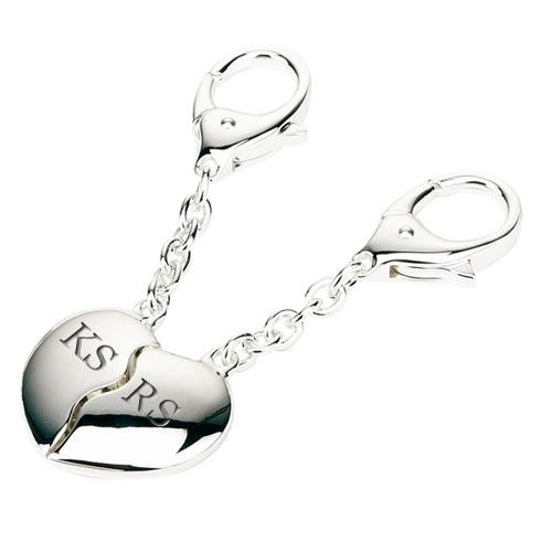 Personalised Silver Plated Joining Hearts Keyrings - One of a Kind Gifts UK