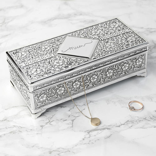 Personalised Silver Trinket Box - One of a Kind Gifts UK