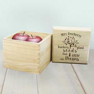 Personalised Teachers Plant Seeds... Cube Box - One of a Kind Gifts UK