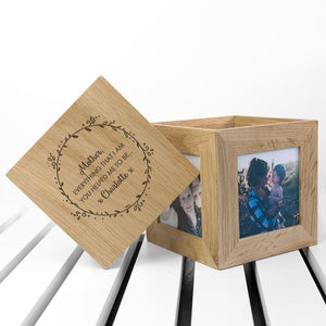 Personalised Thank You Mum Oak Photo Cube - One of a Kind Gifts UK