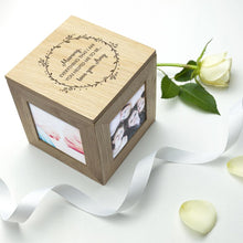 Load image into Gallery viewer, Personalised Thank You Mum Oak Photo Cube - One of a Kind Gifts UK