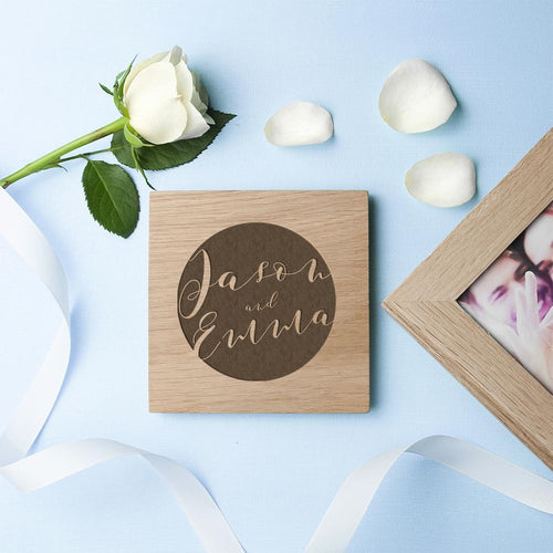Personalised Typography Oak Photo Cube - One of a Kind Gifts UK