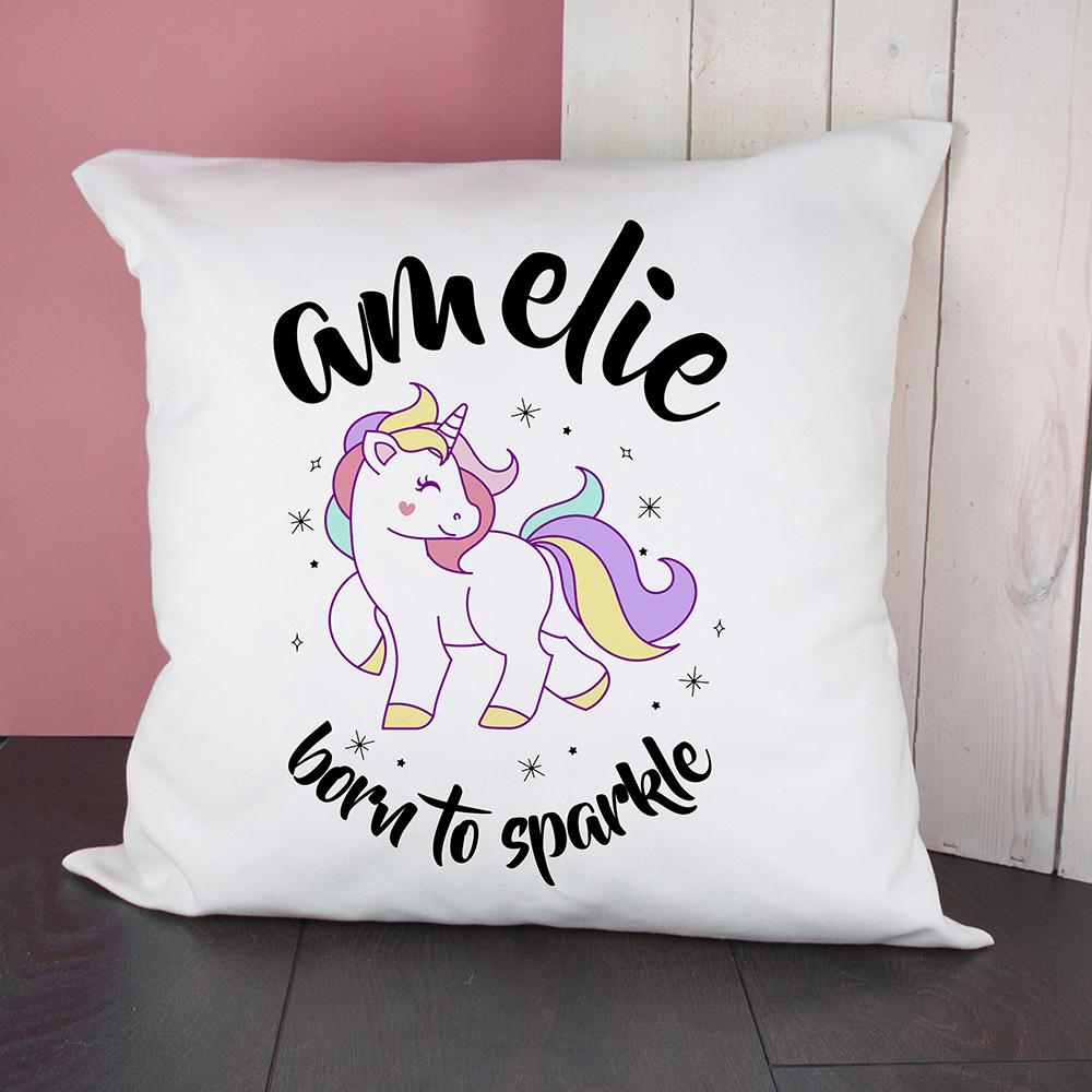 Personalised Unicorn Born To Sparkle Cushion Cover - One of a Kind Gifts UK