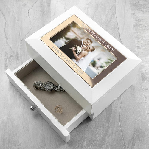 Personalised White and Rose Gold Photo Jewellery Chest - One of a Kind Gifts UK
