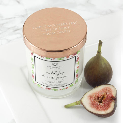Personalised Wild Fig & Red Grape Candle With Copper Lid - One of a Kind Gifts UK