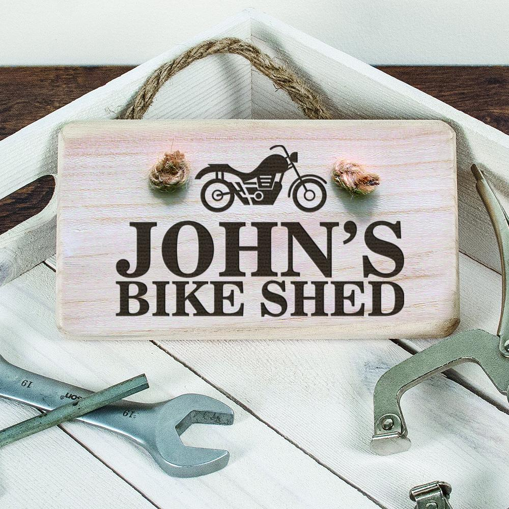 Personalised Wooden Bike Shed Sign - One of a Kind Gifts UK
