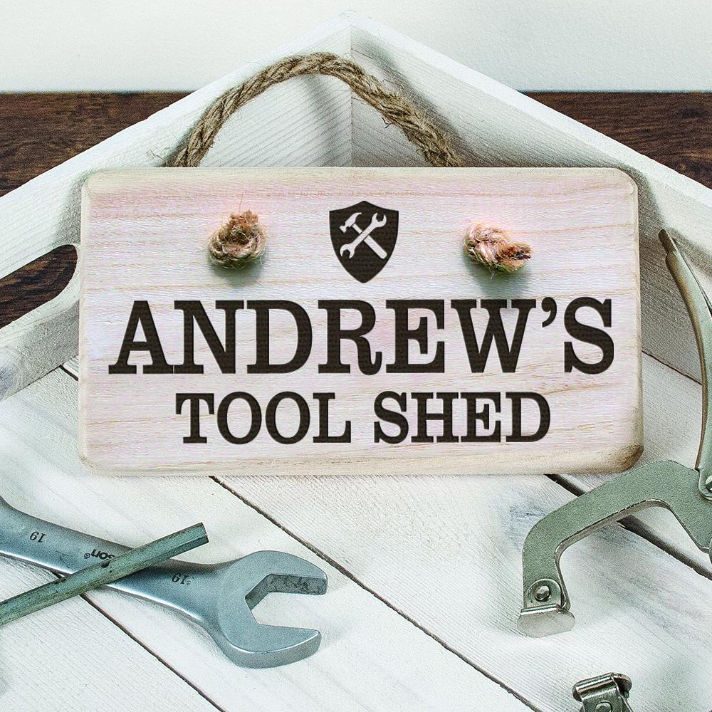 Personalised Wooden Tool Shed Sign - One of a Kind Gifts UK