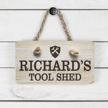 Load image into Gallery viewer, Personalised Wooden Tool Shed Sign - One of a Kind Gifts UK