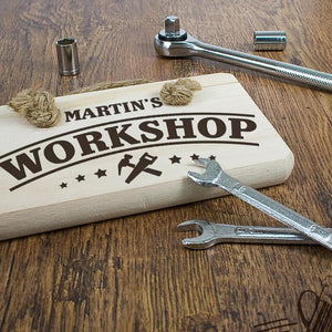 Personalised Wooden Workshop Sign - One of a Kind Gifts UK