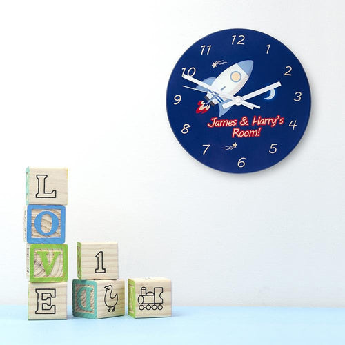 Rocket To The Moon Personalised Wall Clock - One of a Kind Gifts UK