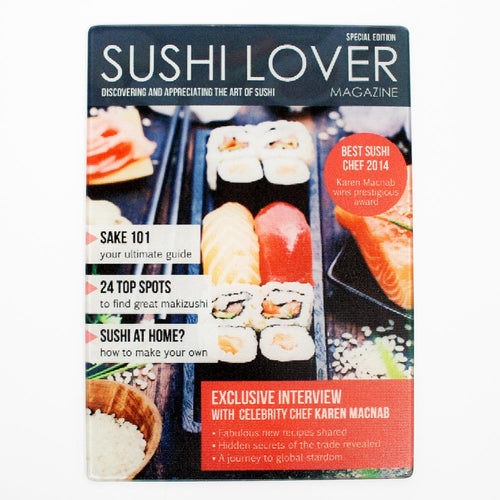 Sushi Lover Magazine Personalised Glass Chopping Board - One of a Kind Gifts UK