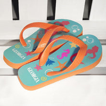 Load image into Gallery viewer, Under The Sea Mermaid Child's Personalised Flip Flops - One of a Kind Gifts UK