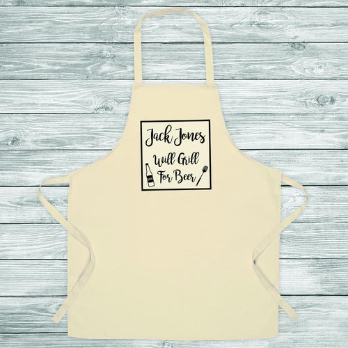 Will Cook For Beer Apron - One of a Kind Gifts UK