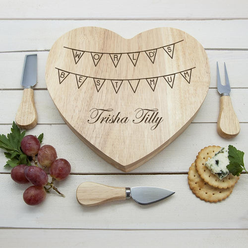 World's Best Mum Bunting Heart Cheese Board - One of a Kind Gifts UK