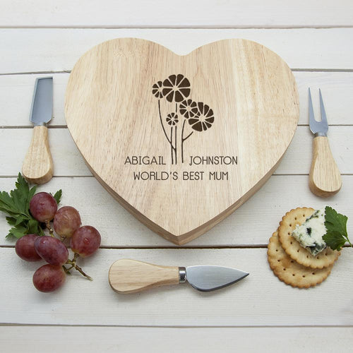 Worlds Best Mum with Daisy Flowers Heart Cheese Board - One of a Kind Gifts UK
