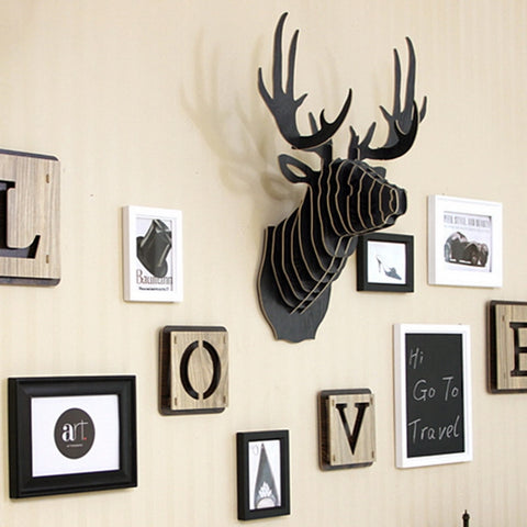 3D Wooden Animal Deer Head Art Model Home Office Wall Hanging Decoration Storage Holders Racks Gift Craft Home Decor