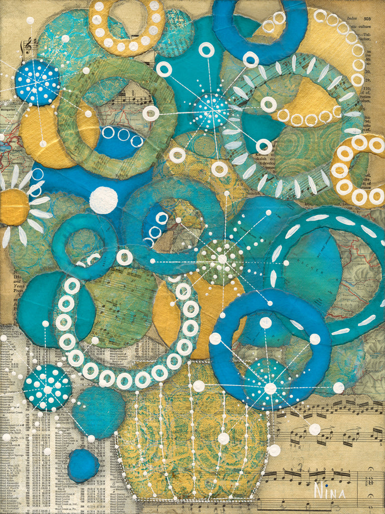 Aqua and Gold - 12x16 - by Nina Chatham