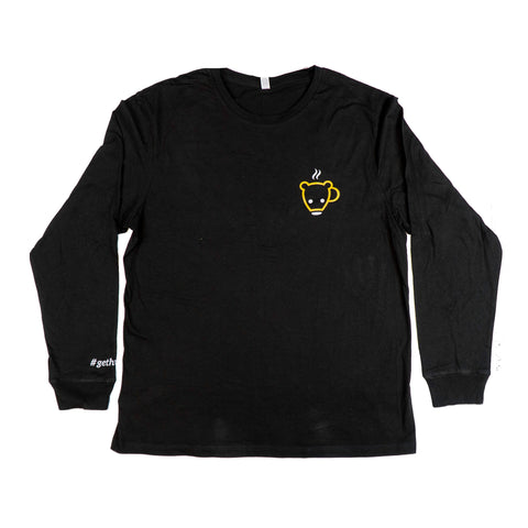 Black Bear Cub Coffee Long Sleeve Tee