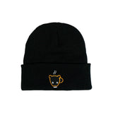 Black Bear Cub Coffee Cuffed Beanie Toque