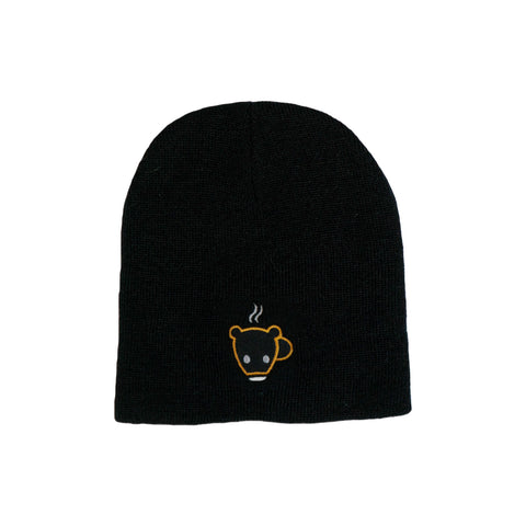 Black Bear Cub Coffee Cuffless Beanie Toque
