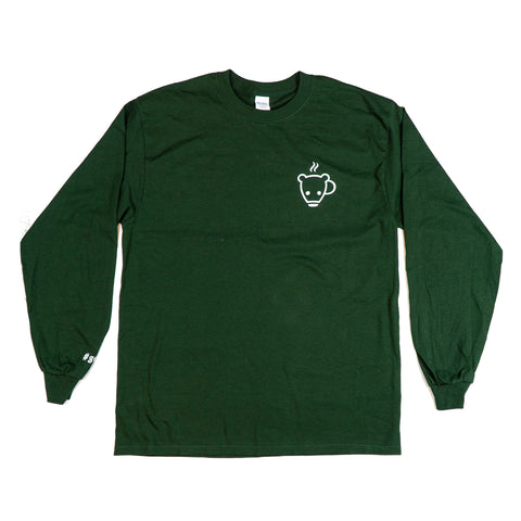 Green Bear Cub Coffee Long Sleeve Tee