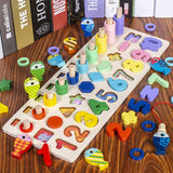 Kids Toys Montessori Educational Wooden Toys Geometric Shape Cognition Puzzle Toys Math Toys Early Educational Toys for Children
