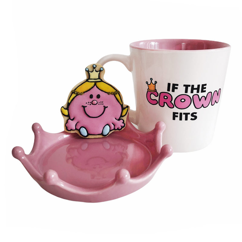 LITTLE MISS PRINCESS MUG WITH LID/COASTER + HAND-ICED LITTLE MISS PRINCESS COOKIE GIFT SET