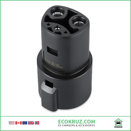 J1772 to Tesla Model S Charging Adapter, 60A & 250V AC - Compatible with SAE J1772 Chargers - EV Chargers and Accessories