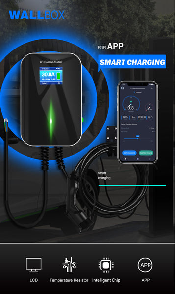 App Enabled Tesla Model S Level 2, 32a 1 Phase EV Charging Station with Pedestal