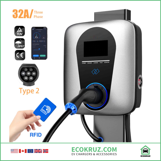 Commercial 32A 3Phase 22kw Mobile App & RFID Enabled EV Charging Station Type 2 / Tesla compatible