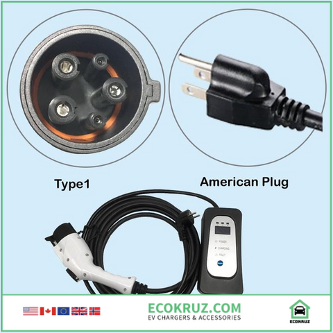 Nissan Leaf EV charger type 1 level 2 NEMA US socket 5.5M cable AC 110V-250V - EV Chargers and Accessories