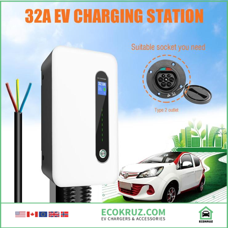 KIA Optima Plug-in Hybrid 32A EVSE EV Charger / Charging Station Wall-mounted Type 2 Cable IEC 62196-2 Level 2 240V 7.6KW - EV Chargers and Accessories