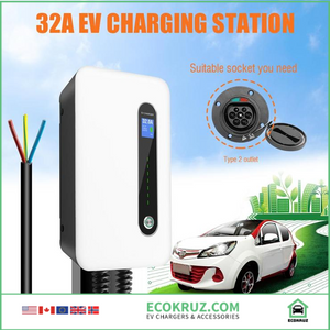 KIA Soul EV 32A EVSE Charger / Charging Station Wall-mounted Type 2 Cable IEC 62196-2 Level 2 240V 7.6KW - EV Chargers and Accessories