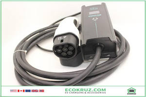 Portable IEC 62196-2, Type 2 plug, adjustable current EVSE 8A 10A 16A 5M Hyundai Kona EV Charger - EV Chargers and Accessories
